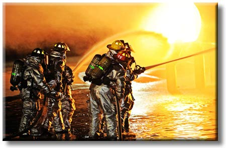 Firefighters in Action, Picture on Streched Canvas, Wall Art Décor, Ready to Hang