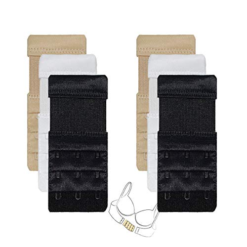 Bra Elastic Extender for Women 6pcs-Pack 3 Rows 3 Hooks Stretch Pregnanct Adjustable Bra Extension Strap, 6pcs,elastic,3 X 3 Hooks,black/Nude/White, One Size