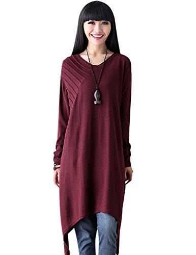Youlee Mujer Cuello en V Irregular vestido de suéter borgoña