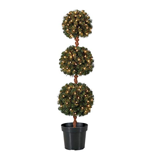 Home Heritage 4 Foot Artificial Topiary Tree w/Clear Lights for Entryway Decor (Topiary Tree With Lights)