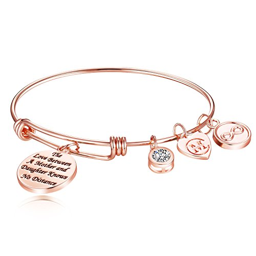 Mother Daughter Bangle Bracelet - The Love Between A Mother and Daughter Knows No Distance, Gift for Mothers Day, Birthday, Christmas (Rose ()