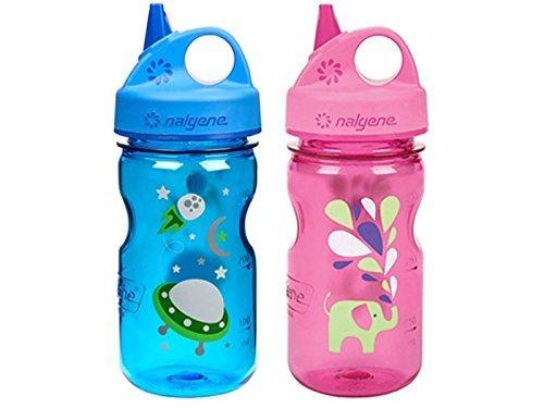 Nalgene Grip-N-Gulp Kids/Childrens Tritan 12oz Water Bottles - Multi-Patterm Bundle Pack of Two Bottles. Each Bottle is 7.5 Inches Tall by 3 Inches in Diameter