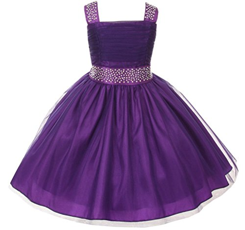Flower Girl Dress Feature Studded Strap & Wasitband Rhinestone for Little Girl Purple 2 CC 1195 (Rainbow High Low Prom Dress)