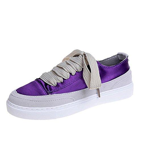 GAOLIXIA Zapatos planos de las señoras de las señoras de seda de los zapatos planos de los zapatos casuales al aire libre cómodos zapatos deportivos Negro Verde Rosa Púrpura Blanco Púrpura