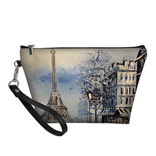 Mumeson Trapzoid Makeup Pouch PU Leather Waterproof Cosmetic Bag Travel Handbags Eiffel Tower - Leather Eiffel