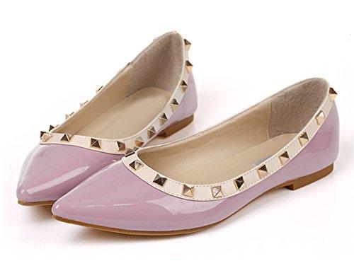 SexyPrey Pumps On Ballet Flats Toe Size Shoes Women's Big Pointed Rivets Slip Mauve Shoes 80q8PrwS