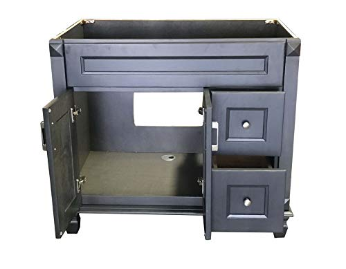 Carbon Metallic solid wood Single Bathroom Vanity Base ...