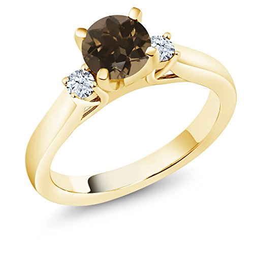 (Gem Stone King 0.90 Ct Brown Smoky Quartz White Created Sapphire 18K Yellow Gold Plated Silver Ring (Size 6))