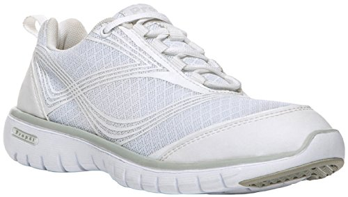 Propet Women's TravelLite Walking Sneakers, White Nylon, Bamboo, Mesh, EVA, Rubber, 9 AA