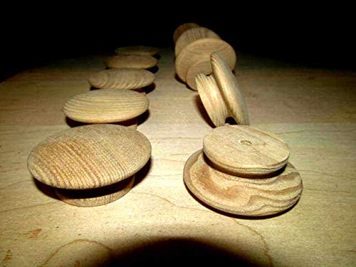 """PULLS K3 10 PIECES NEW UNFINISHED ASH 2/"""" ROUND WOOD CABINET KNOBS"""
