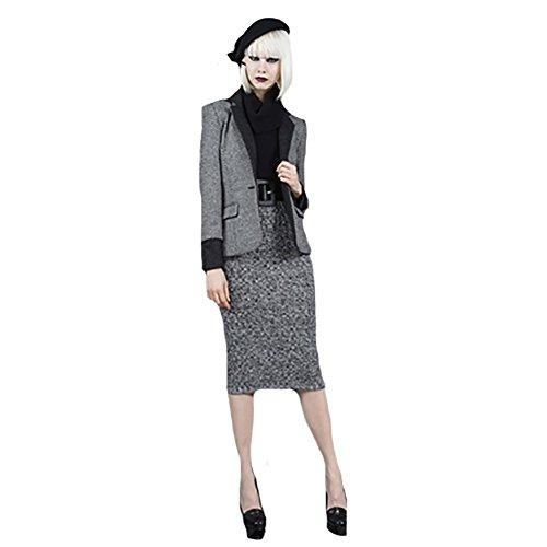 Alice + Olivia Cherra Belted Turtleneck Knit Dress in Black & White (6)