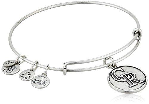 (Alex and Ani Colorado Rockies Cap Logo Expandable Rafaelian Silver Bangle Bracelet)