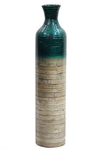 Green Tall Vase - Heather Ann Creations Milano Collection Handcrafted Bamboo Floor Vase with Metallic Teal and Natural Bamboo Finish