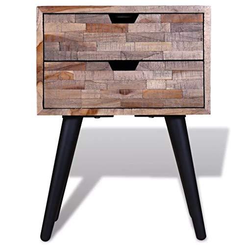 Tidyard Vintage End Side Table Nightstand with 2 Drawers Reclaimed Teak Wood 2 Drawer Teak Nightstand