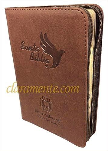 Santa Biblia de Estudio con Cierre Reina-Valera 1995 RVR 95 tamaño manual, imitación piel, café claro con índice: Sociedad Biblica Colombiana: ...