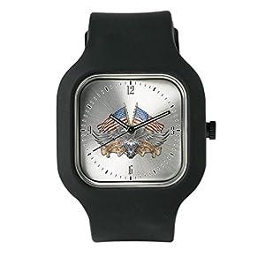 Black Fashion Sport Watch Eagle American Flag Motorcycle Engine