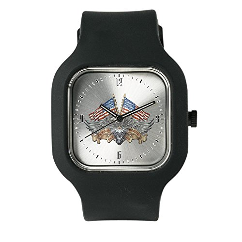 Black Fashion Sport Watch Eagle American Flag Motorcycle Engine -