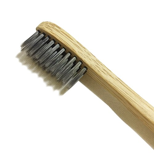 Natural Toothbrush with Bamboo & Charcoal Fibre Bristles from LiveCoco | Bamboo Toothbrush Medium | Activated Charcoal Powder | Bamboo Toothbrush Charcoal | Charcoal Toothbrush (Charcoal Fiber)