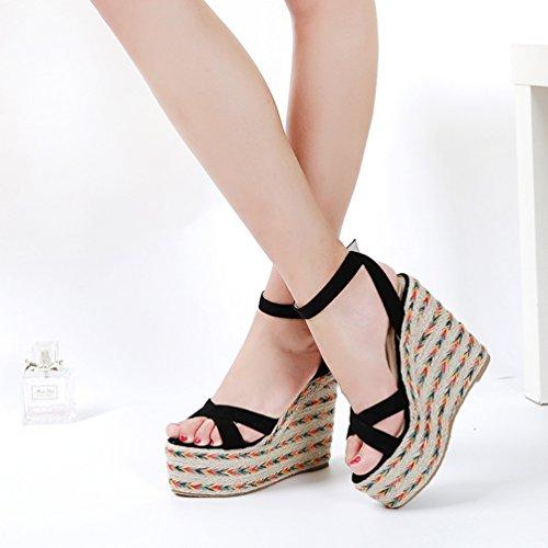 Infradito Sandali Tacchi Misti Tacco Colori Basso Eleganti Zeppa Donna 13cm Lvguang Scarpe Sandali con Nero Sandali 2 U4gAxP8
