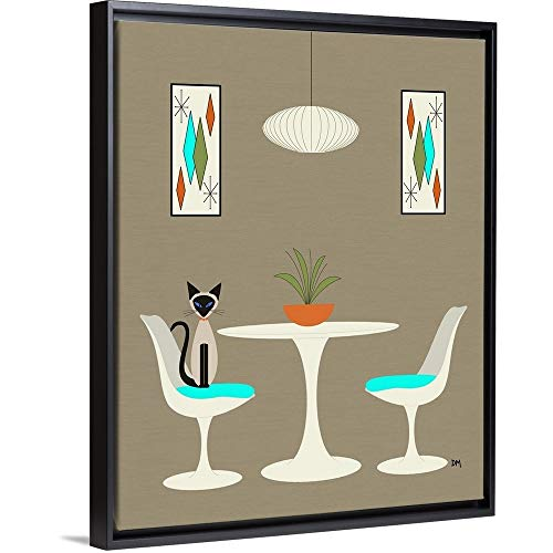- Knoll Table 2 with Siamese Black Floating Frame Canvas Art, 18