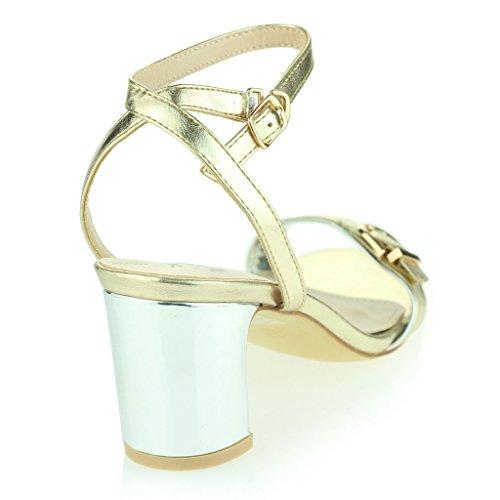 Mujer Señoras Dos Partes Correa De Tobillo Punta Abierta Diamante Tacón Alto Noche Casual Fiesta Boda Prom Sandalias Zapatos Tamaño Oro