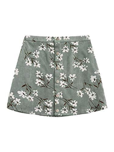 WDIRARA Women's Summer Floral Print Mid Waist Button Front A Line Mini Skirt Green M