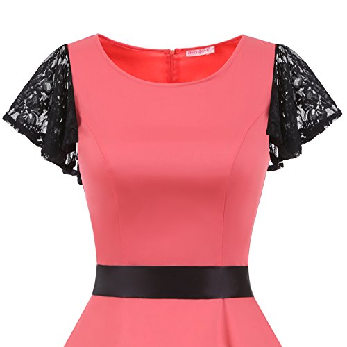 Party Retro Swing Vintage Sleeves Lace Dresses Women's Rockabilly 50s BeryLove Coral Coaktail qCwzX0