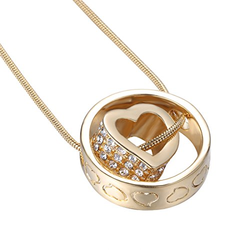 "ADELLA Gold Heart Crystal 18"" Necklace Two-Piece Pendant with White Crystals Plus Luxury Champagne Jewelry Case"