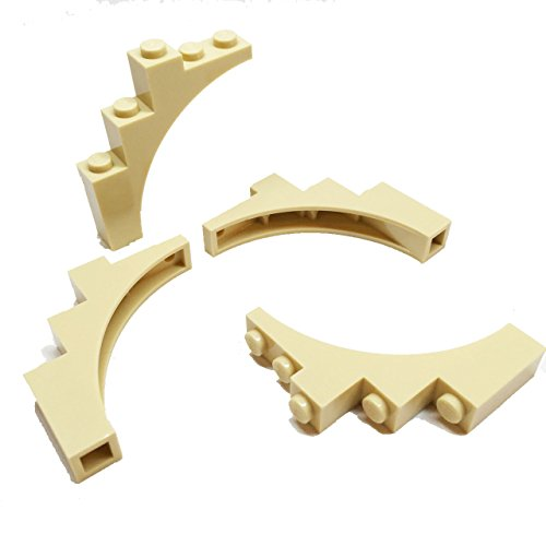 lego-parts-brick-arch-1-x-5-x-4-continuous-bow-service-pack-of-4-tan