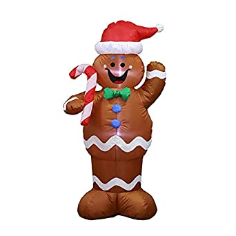 Amazon Com Adava Christmas Inflatable Holiday Time Blow Up Gingerbread Man Air Blown Decoration With Led For Festival Indoor Outdoor Lawn Yard Party Prop Industrial Scientific
