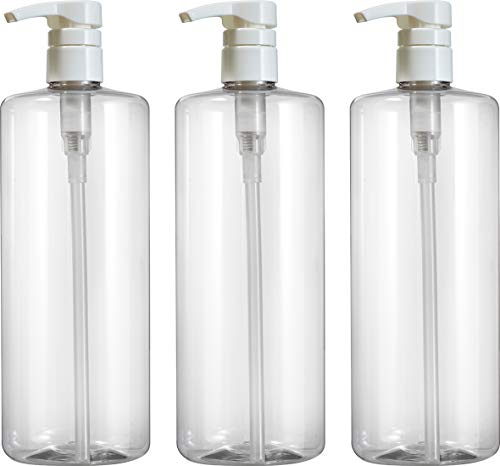 Empty Shampoo Pump Bottles, 32oz(1Liter), BPA-FREE, Plastic (PETE1) Cylinder, Pack of 3 from Bar5F