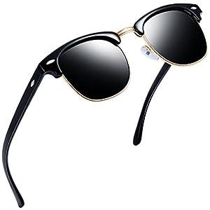 Joopin Semi Rimless Polarized Sunglasses Women Men Retro Brand Sun Glasses (Brilliat Black Frame, Simple packaging)