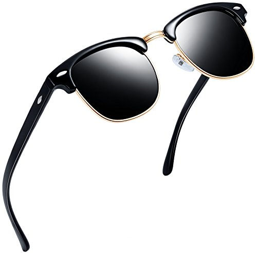 (Joopin Semi Rimless Polarized Sunglasses Women Men Retro Brand Sun Glasses (Brilliant Black Frame, Simple)