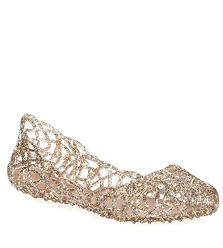 Rhinestone Sandals (Layered Lines Jelly Ballet Flats Clear 8 B(M) US)