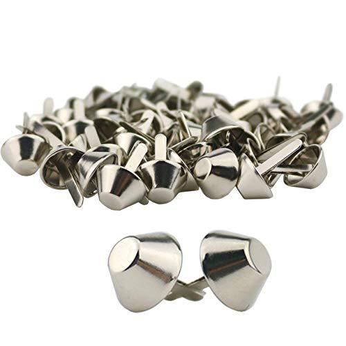 TinaWood 100PCS 15mm Plate Bottom Stud Bag Feet/Silver Cone Studs Purse Feet Spike Nailheads Brad leathercraft Findings (100PCS 15mm)
