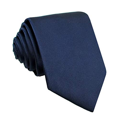- Kebs Basic Mens Solid Color Polyester Microfiber Neck Tie Thin Tie for Men - Navy Blue