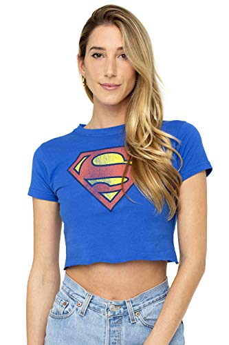 Supergirl Distressed Logo Juniors Teen Girls Crop Top T Shirt & Stickers (Large) Royal Blue