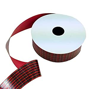 "Christmas Ribbon for Wrapping Gifts, Tree, Presents - 1 1/4"" x 50 Yards, Red Green Tartan Pattern"