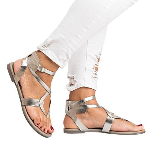 AIMTOPPY HOT Sale, Summer Women Ladies Sandals Cross Strap Flat Ankle Roman Cusual Shoes (US:8.5, Silver) by AIMTOPPY