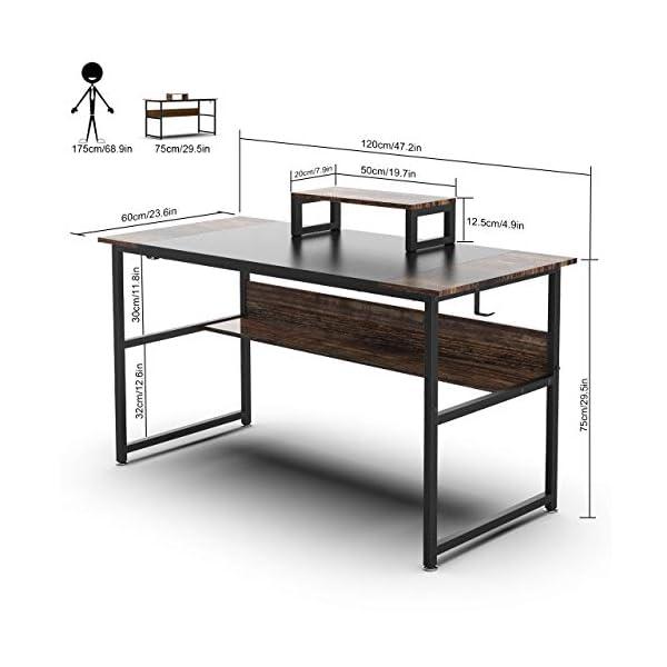 Nisear Bureau d'ordinateur, Table de Bureau Informatique à Cadre en Acier avec Support d'ordinateur, Grande Table d…
