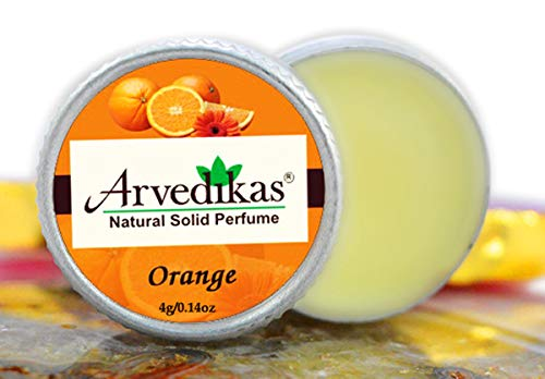 Arvedikas Orange Natural Solid Perfume Beeswax/Mini Jar/Floral Fragrance/Orange Perfume/Scented Balm/Skin Friendly/Alcohol Free/Body Musk/Body Parfum/Gift for Her (4gm each - 0.14oz) - Cherry Perfume Blossom Solid