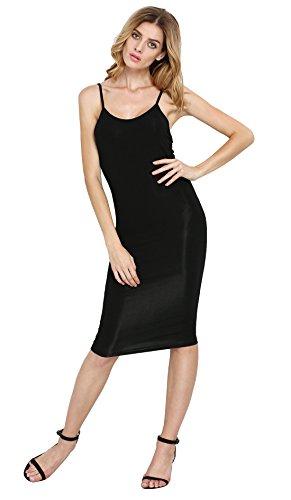 SheIn Women's Black Spaghetti Strap Sheath Long Bodycon Dress (S, Black)