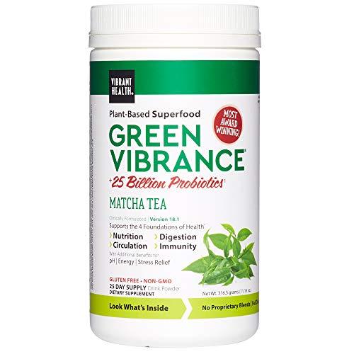 Vibrant Health, Green Vibrance Matcha Tea, Plant-Based Superfood Powder, 25 Billion Probiotics Per Scoop, Vegetarian and Gluten Free, 25 Servings