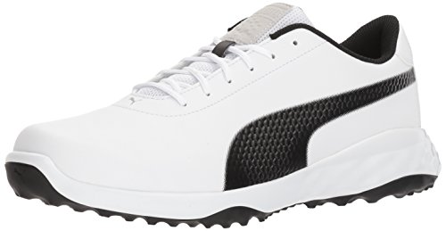 PUMA Golf Men's Grip Fusion Classic Golf Shoe, White/Black, 10 Medium US