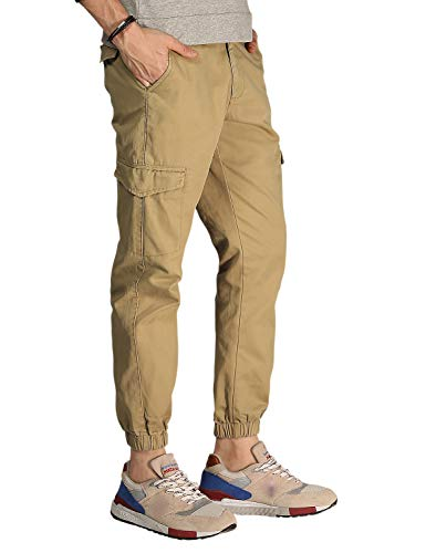 Match Men's Regular Fit Chino Jogger Cargo Pant(30, 6045 Khaki Yellow)