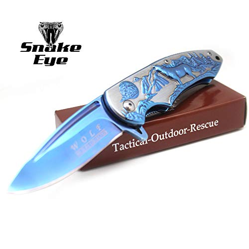 Wild Turkey Handmade Razor Sharp Fast Deployment Assisted Opening Pocket Knife Wolf Collection Camping Hunting Fishing (Blue)