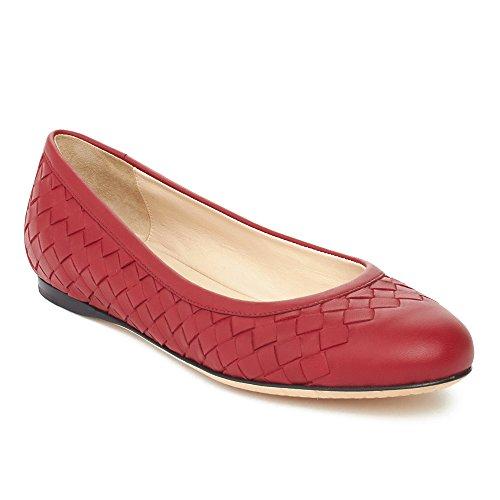 Bottega Veneta Women's Intrecciato Leather Ballerina Flat Shoes Red