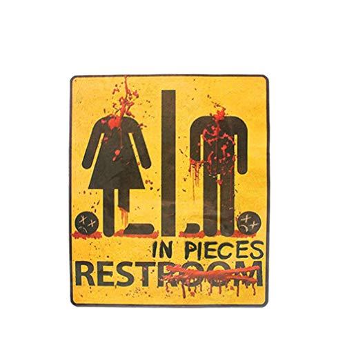 SUKEQ Novelty Bloody Bathroom Restroom Decor Sign Halloween Party Decor Supplies Halloween Themed Print Bath Door Wall Sign -
