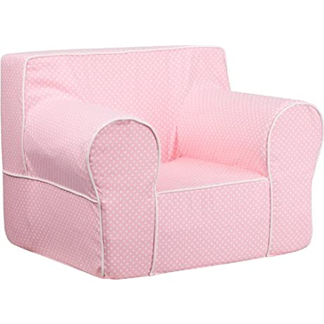24 5 Oversized Pink Dot Kids Chair W White Piping 1 Chair