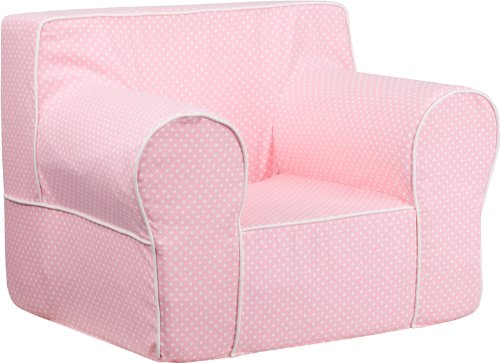 Flash Furniture Oversized Light Pink Dot Kids Chair with White Piping by Flash Furniture